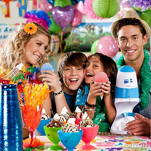One party tip that never fails is to keep cool with an Electronic Ice Shaver that lets you make your own snow cones at your party. Click for more.
