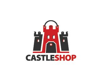Castle Shop Logo design - Logo design of a castle that incorporates a price tag as the gate.  Price $299.00