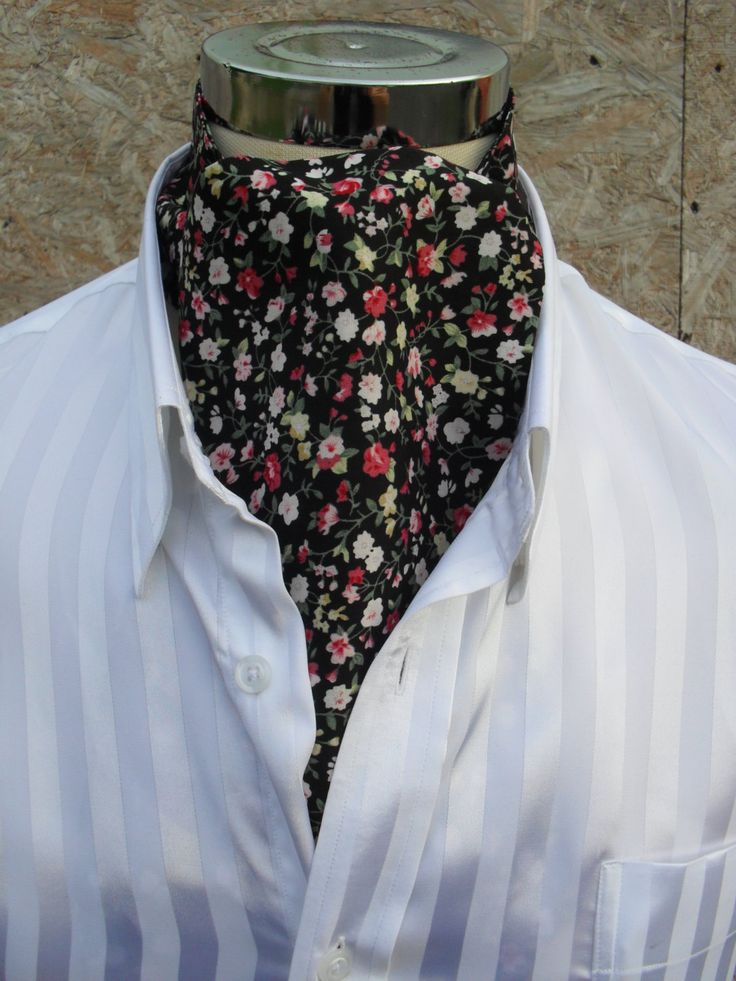 Black cravat with tiny flowers.  Item No. LDC0265 by LDCcreations on Etsy