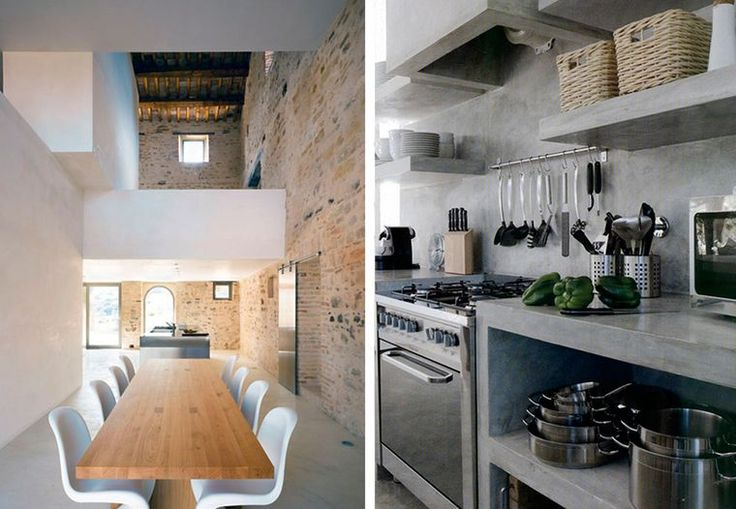 Ikke alt behøver at være hvidt, hvidt, hvidt. Køkkenet kan også være råt og cool med åben opbevaringsplads og gennemført udvalgte materialer, som kan tåle og holde til at være familiens hjerterum.