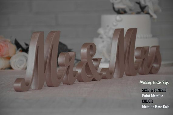 Metallic MR & MRS Rose Gold Rose Gold by WeddingGlitterSign