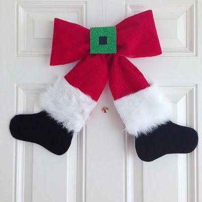 Haz un adorno navideño para la puerta con figura de Santa Claus ~ Solountip.com