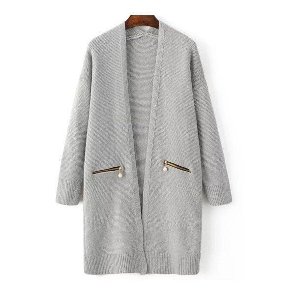 Grey Ribbed Trim Zipper Pocket Long Sweater Coat ($33) ❤ liked on Polyvore featuring outerwear, coats, jackets and tops
