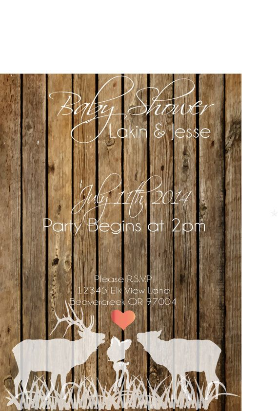 Rustic Baby Shower Invitation / baby shower by DashingDoeBoutique