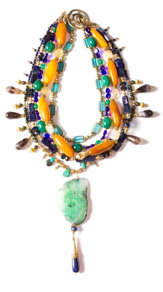Quartz, Agate, Bali Brass, Pearl & Lapis Necklace