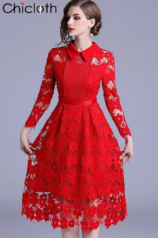 Formal Dresses Long Sleeve Vintage Dresses Daily A-Line Shirt Collar Statement G…