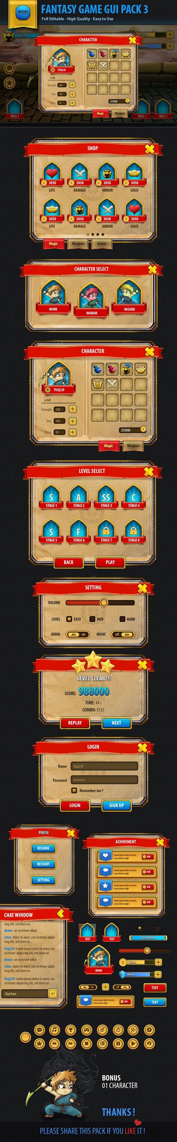 Fantasy mobile game gui pack on Behance