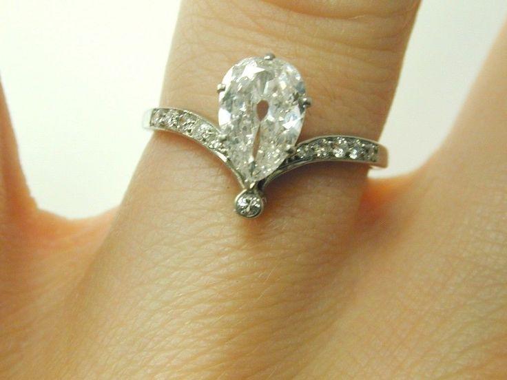 Diamond Pear Cut Ring Art Deco Platinum Size O 0 90 Carats Stunning Unusual Ring | eBay