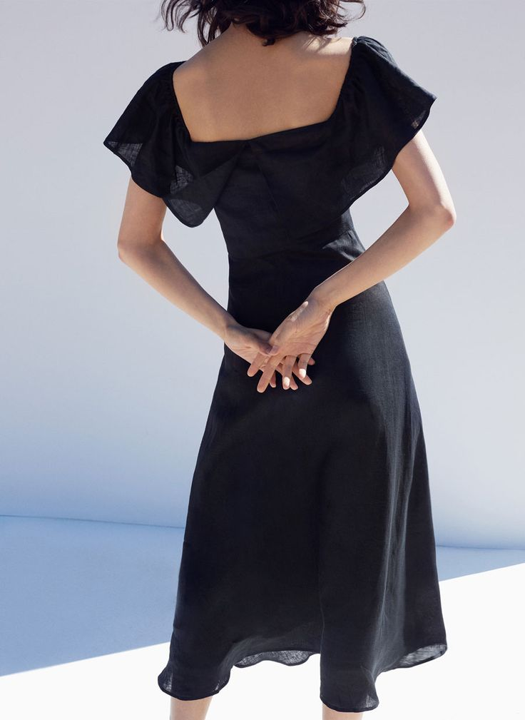 Black linen dress - Dresses and Skirts - Ready to wear - Uterqüe United Kingdom