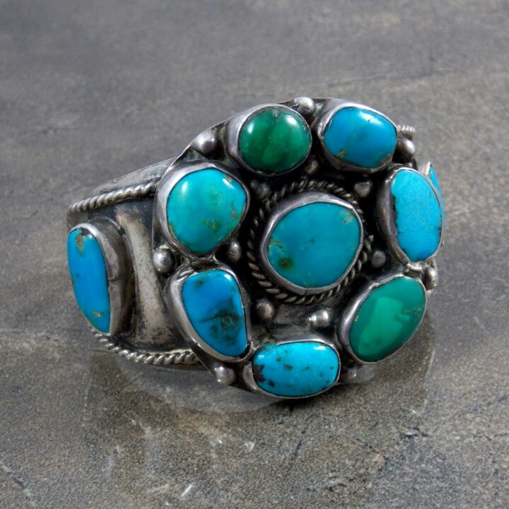 Old Pawn Navajo turquoise and sterling silver bracelet