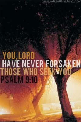 Psalm 9:10 You Lord have never forsaken those who seek you.