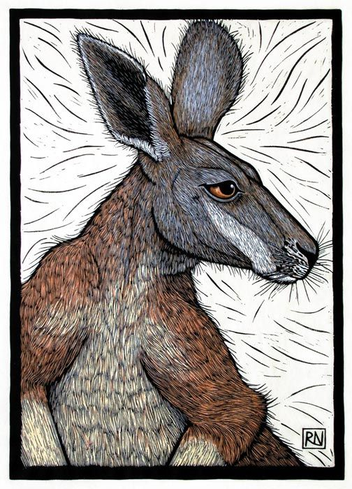 Rachel Newling. 'Big Red', 49x 34 cm, edition of 50,hand coloured linocut on handmade Japanese paper