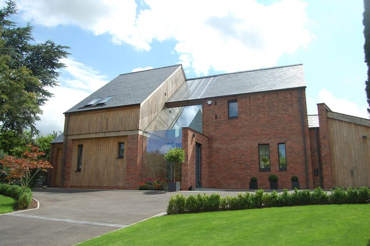 Wood Cladding On Brick Wall : Timber cladding red brick grand design home