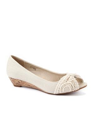Winter White (Cream) Wide Fit Cream Crochet Low Wedge Peeptoe Shoes  | 273780212 | New Look