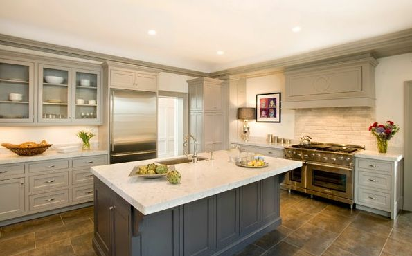 gray kitchen with light gray glass front kitchen cabinets dark gray