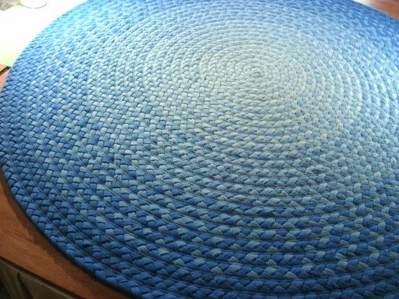 60 Shades Of Blue Braided Rug Created From New By Greenatheartrugs, $396.00