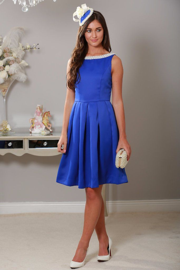 Royal Blue Pearl Neckline Dress EXCLUSIVE to LadyVB