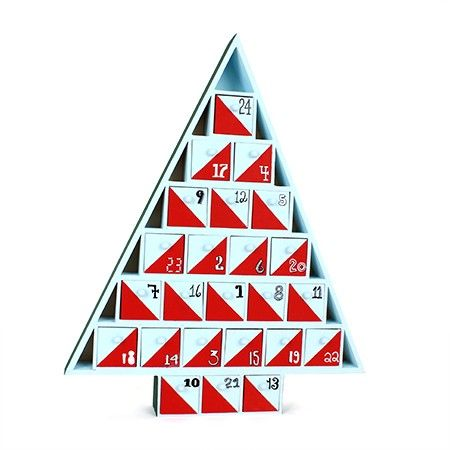 Have fun painting red triangles on each of the drawers of this Christmas tree-shaped wooden advent calendar. It's an easy way to brighten up your holiday decor.