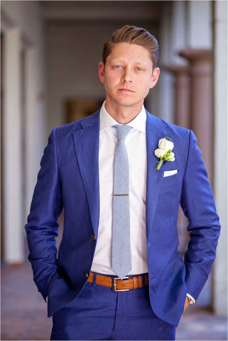 Groom's suit in a classic royal blue with saddle brown belt and shoes, pale blue tie and ivory boutonniere - Photos by Drew Brashler Photography