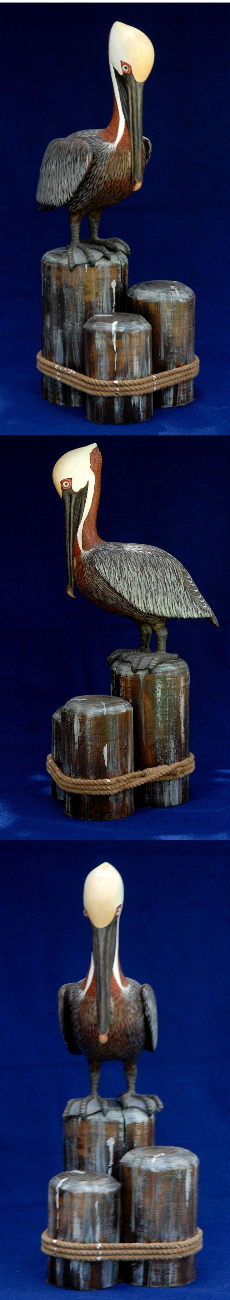 PELICAN STACKED wood carving - After 32 years with WV Dept Natural Resources, Mr Allen retired to Florida. He died in Aug. 2010.  There is a wonderful article from the Charleston Gazette detailing his life and describing him as a   renaissance man.