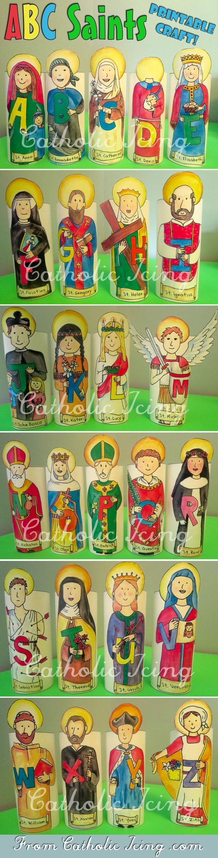 An Alphabet of Catholic Saints: Stand-up printable crafts! Craft Saints with your kids from A-Z. So much fun, and I love all the little details these include. They can be printed in black and white or in color. :-)