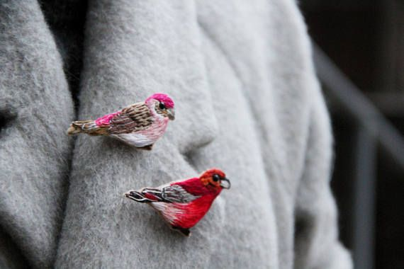 Unique bird gift for wife christmas gift brooch for mom Hand embroidered jewelry for mom Unique brooch gift for mom Embroidery brooch bird *** please note that you can purchase both a single brooch and a set (when buying a product, select the color of the bird) *** ♥ about hand embroidered brooch ♥ Each brooch is made individually and 100% handmade, so you get a unique thing... one of a kind! This decoration will be an excellent gift for family and friends, those who appreciate manual wor...