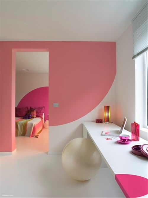 pintura-rosa-moderna: Decor, Interior, Ideas, Color, Paint, Pink, Bedroom, Design