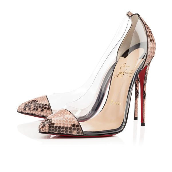 Christian Louboutin Debout 120mm Antic Rose Python Women Sky-High Pumps