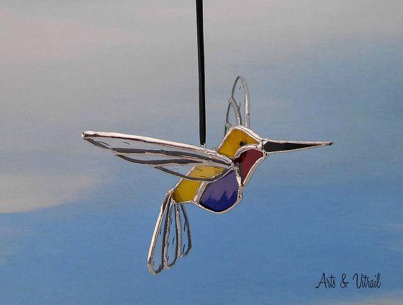 Oiseau vitrail colibri 3D  Capteur de lumière  par ArtsVitrail