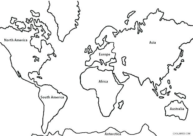 Continents Coloring Page World Map Coloring World Map Continents