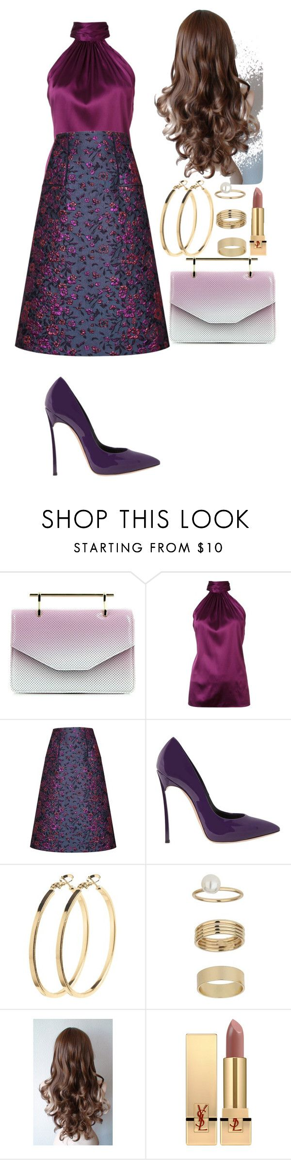 """""""Untitled #307"""" by aalniz-ssistrs ❤ liked on Polyvore featuring M2Malletier, Ramy Brook, Talbot Runhof, Casadei, Pieces, Miss Selfridge and Yves Saint Laurent"""