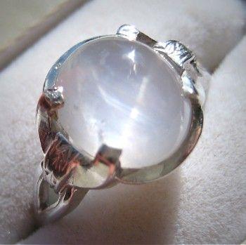 Vintage Star Sapphire Ring Antique Art Deco Wedding White Gold.