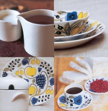 Collage of Paratiisi. Porcelain designed by Arabia.