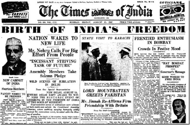 The Times of India Newspaper 15 August 1947 - Happy Independence Day 2013