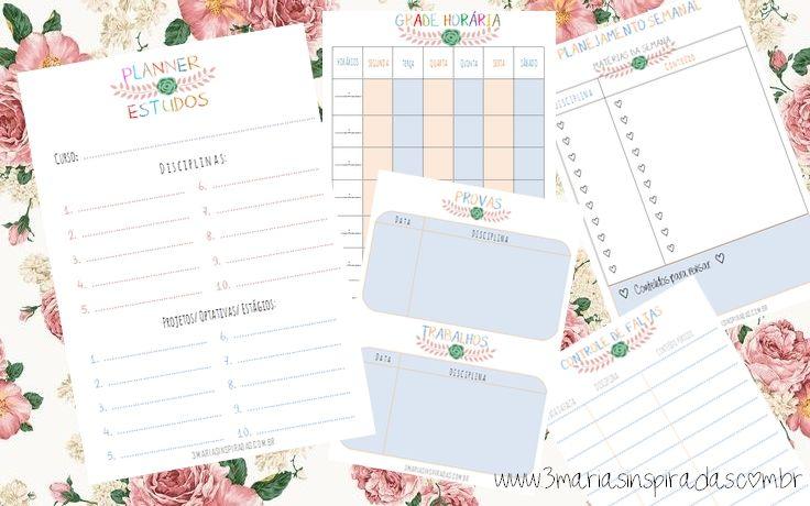 3 MARIAS INSPIRADAS: Para baixar e imprimir - Planner de Estudos                                                                                                                                                                                 Mais
