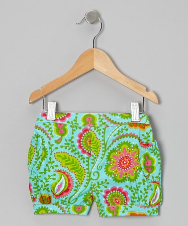 Take a look at this Aqua Tropical Oasis Shorts - Infant, Toddler & Girls by Waistin' Away on #zulily today!
