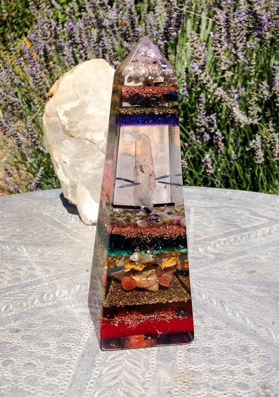 Orgonite Chakra Obelisk ~ Violet Flame Orgone Alchemy