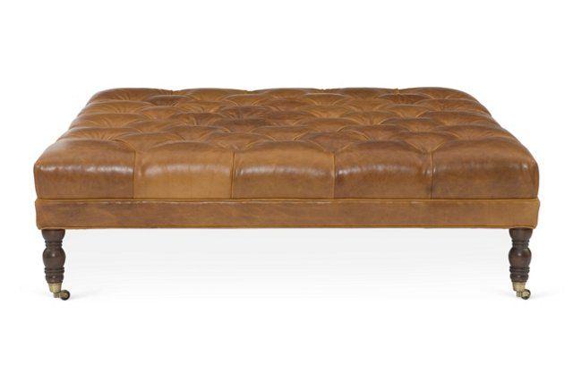 "Evolution 56"" Ottoman, Caramel Leather"