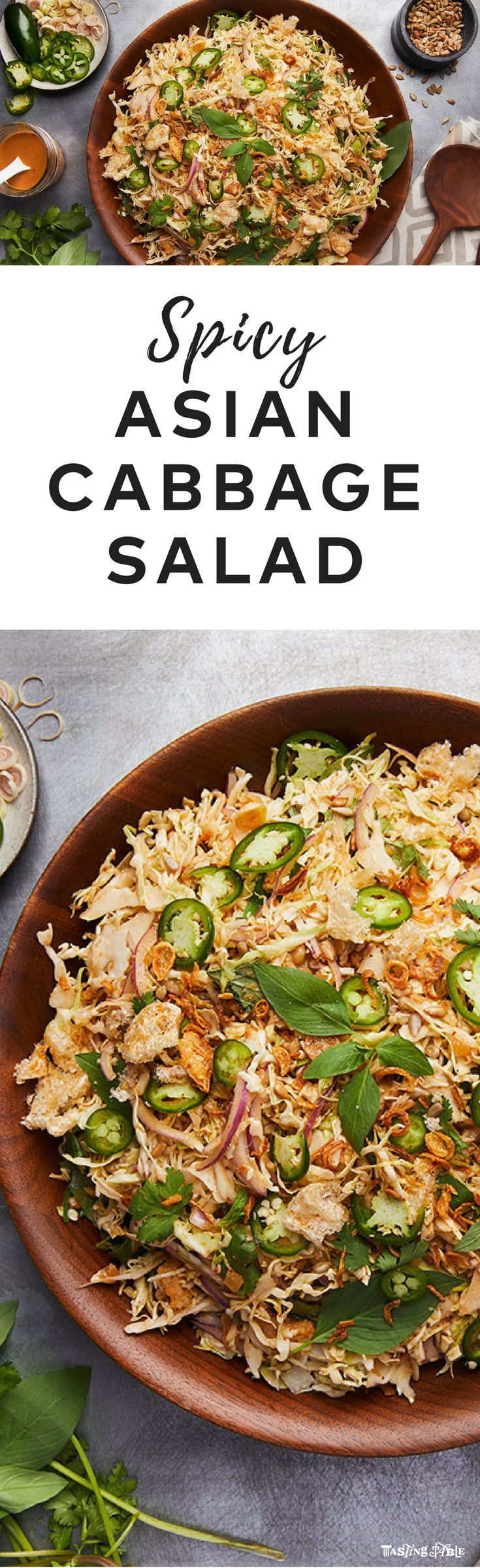 New Orleans hot spot Turkey and the Wolf serves this bright and spicy cabbage salad with sliced jalapeños and a coconut dressing laced with Sriracha.