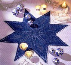 CROCHE COM RECEITA: Toalha em crochê estrela maior
