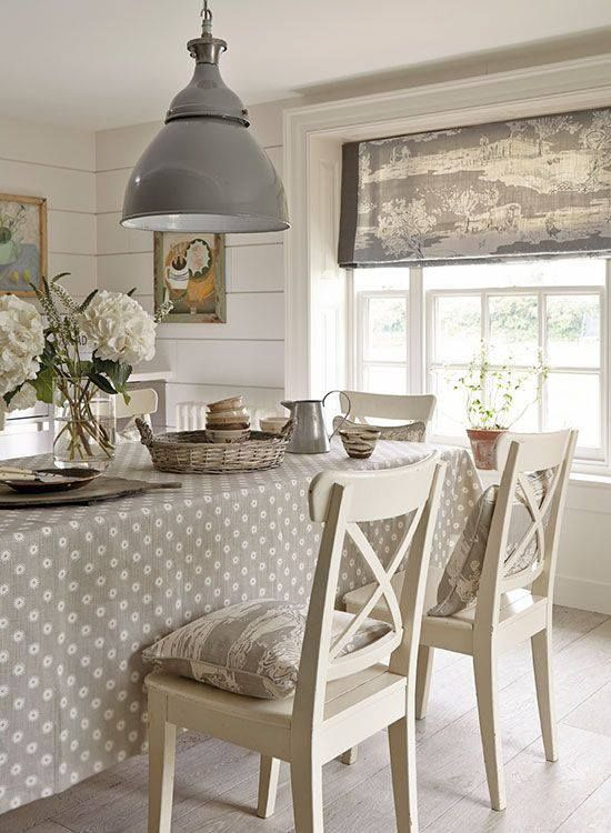 We love this colour scheme grey and white dining room