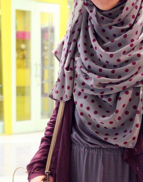 Polka dots shawl #hijab#muslimah fashion