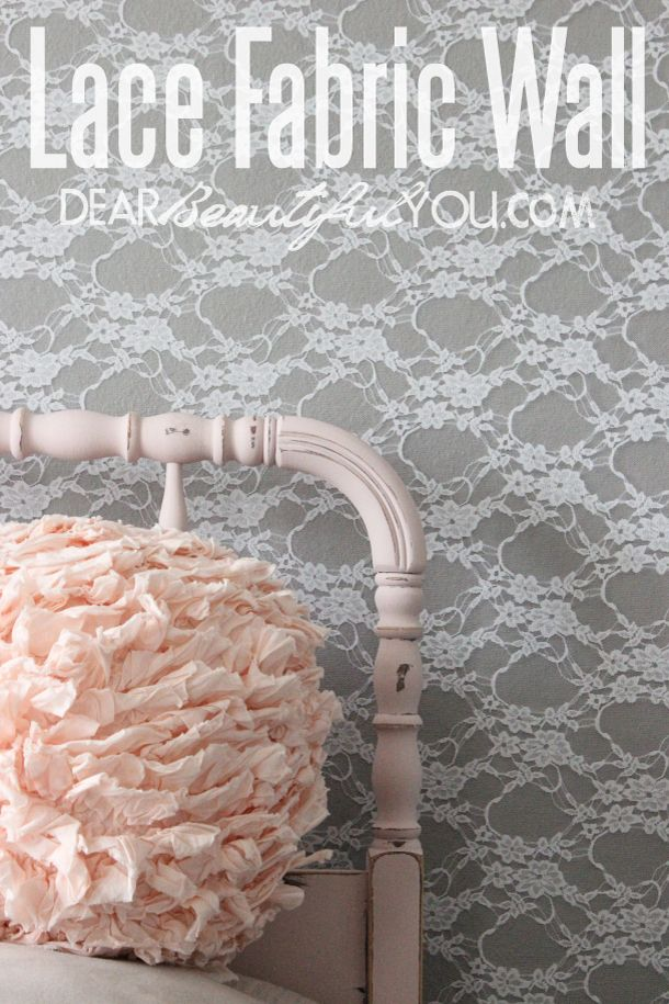 DIY Lace Fabric Wall. This wall turned out beautifully in my little girls room. Easy tutorial to do and very elegant. The lace was one of the cheapest options for an accent wall covering. You will also find a full room reveal at the end of this post!   www.dearbeautifulyou.com