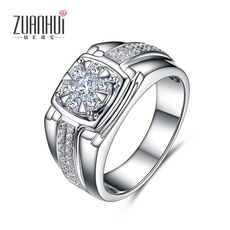 men jewelry 18 k White Gold Proposed Wedding Diamonds Ring Stars Design Classic Prong Setting Glory of Man