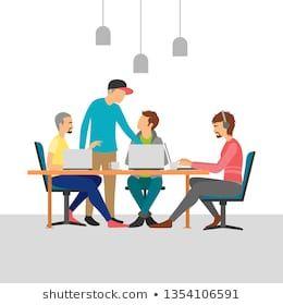 Teamwork in a modern office. #business, #businessman, #character, #communication, #computer,