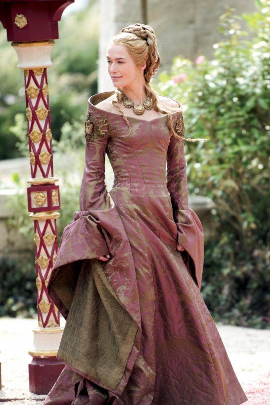 "Queen Regent Cersei Lannister's (Lena Headey) current footing amid the show's power plays is telegraphed via the increasingly elaborate beading of her costumes. ""In the beginning, she was secure, so her gowns were lightly embroidered or printed. But the more precarious her position and the more paranoid she gets, the more Lannister emblems she wears to show her power,"" explains Clapton, who oversees creation of 120 principal costumes a season."
