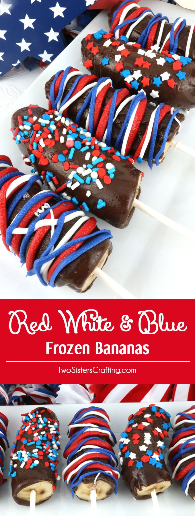 Red White and Blue Frozen Bananas - easy to make patriotic homemade chocolate covered frozen bananas for a 4th of July Party or a Memorial Day Barbecue. Call them Frozen Bananas or call them Monkey Tails but this delicious frozen summer treat will be a great 4th of July dessert. Pin this yummy Fourth of July treat for later and follow us for more 4th of July Food ideas.