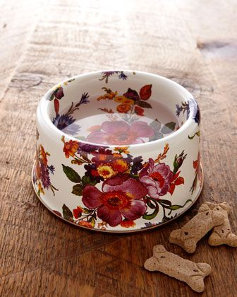 "I don't even like animals, but this is the prettiest dog bowl I've ever seen. ""Flower Market"" Pet Bowl - Neiman Marcus"