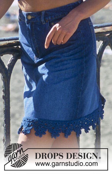 """DROPS 69-3 - Virkad DROPS topp och nederkant på kjol i """"Den-M-nit"""" - Free pattern by DROPS Design"""
