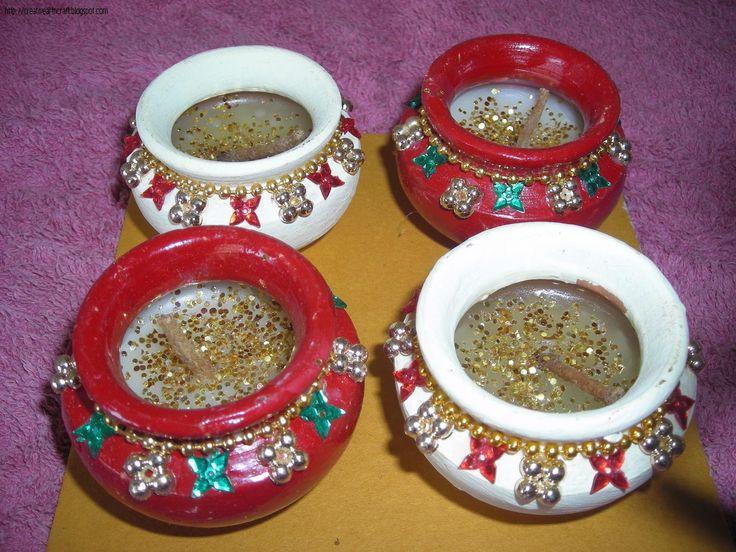 Anu 39 s art and crafts diya decoration diwali decoraition for Art and craft diya decoration